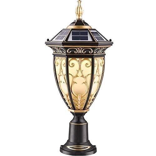 Elke leampp Ledlamp op zonne-energie van vintage, IP65 voor buiten, roestvrij retro, aluminium lantaarn, glazen zuil, waterdichte victoriaanse palen verlichting bodem patio tuin