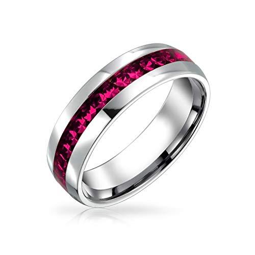 Bling Jewelry Oktober Monat Hellrosa Farbe Kanal EIN Kristall Der Ewigkeitsring Band Für Damen Silber Getönt Aus Rostfreiem Stahl