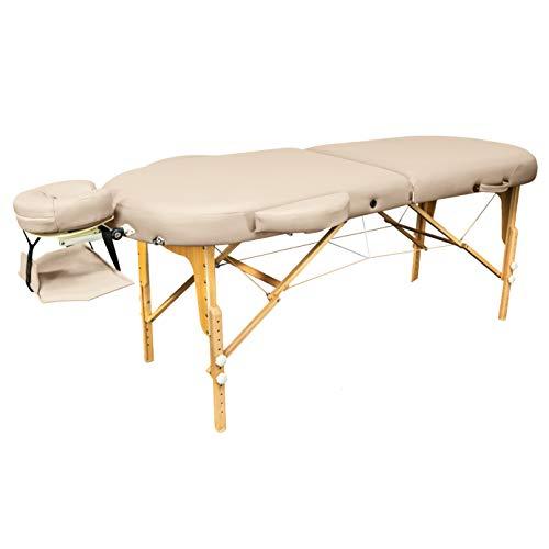 Zen Oval | Massage-Liege klappbar und höhenverstellbar | mobiler Kosmetik-Tisch in ovaler Form für aktive Massagestile | Voll-Holz, hochwertiger PU-Bezug, Alu-Kopfstütze | TÜV zertifiziert (Créme)