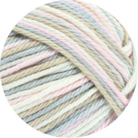 Lana Grossa Cotone Print + Spray 315 - Weiß/Rosé/Beige/Silbergrau