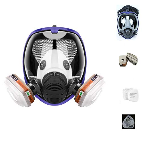 17in1 Reusable full face Cover Protective Respirator Rubber 360° Full Seal Protection (Respirator +Canister) Widely Used in Organic Gas
