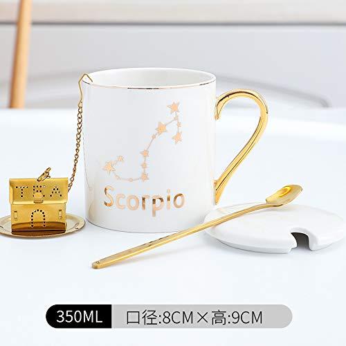 Xiaobing Taza de cerámica de 12 Constelaciones, Taza de Lujo Ligera con Tapa, Cuchara, Oficina, Pareja, Taza de café, Escorpio blanco-C021