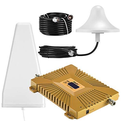 Yuanj Handy Signalverstärker, 900/2100 MHz Band 1/8 für Telefon T-Mobile D1 Vodafone D2, Handynetz Signal Verstärker mit Außenantenne & Omni-Innenantenne - Handy Signalempfang Verstärkung