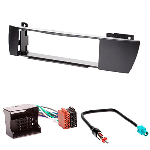 CARAV 11-126-4-7 Façade d'autoradio Car 1-DIN dans Dash Installation Kit for X3 (E83) 2004-2010 + ISO and Antenna Adapter Cable