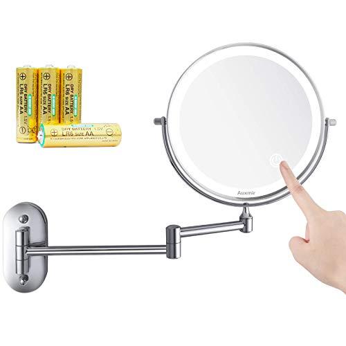 Auxmir Specchio Trucco con Ingrandimento 10X/1X Specchio Parete a 54 LED Specchio Estensibile da Bagno 3 Colori di Luce Rotazione a 360° Alimentato da Batterie AAA (Incluse) Ideale per Bagno Hotel Spa