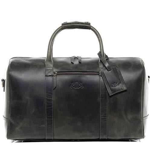 SID & VAIN Reisetasche echt Leder Chad XL groß Sporttasche Weekender Ledertasche Herren 50 cm grün