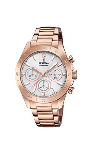 Festina Damen Chronograph Quarz Uhr mit Edelstahl Armband F20399/1