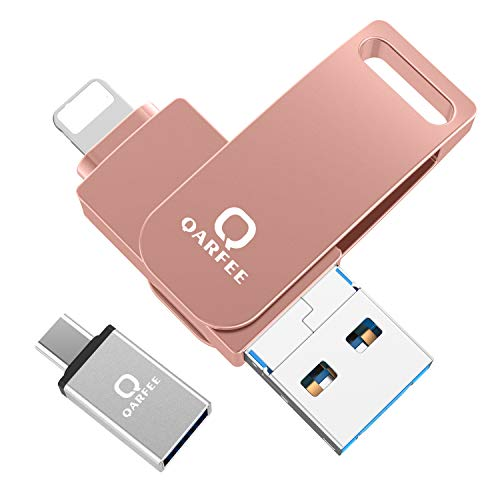 Qarfee USB Stick 32GB für iPhone USB 3.0 Flash Drive USB Speicherstick Memory Stick kompatibel mit iPhone/iPad/USB/iOS/Micro USB/Type C Anschluss/Handy Tablet/PC Orangerosa
