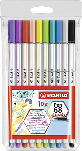 Rotulador punta de pincel STABILO Pen 68 brush - Estuche con 10 colores