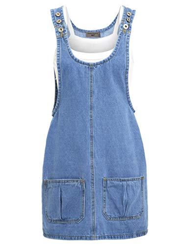 SS7 Neuer Frauen Jeans Trägerrock, blau, Größen 6 bis 16 - Denim Blau, 38