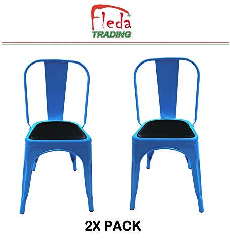Fleda TRADING metalen stoel met industrieel ontwerp - Tòlix type Pakket van 2 stoelen met kussen Blauw