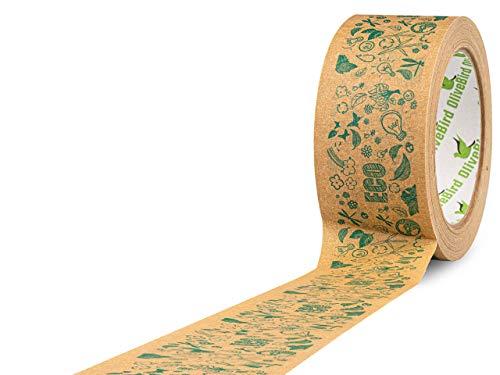 Cinta de Papel Kraft Marrón rollo de 48mm x 50 metros, para sellar y embalar, ecológica y reciclable, fácil de rasgar (ECO-BIO-Printed)