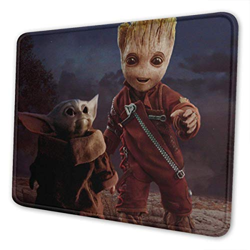 Baby Yo-da Groot Mouse Pad Mouse Mat with Stitched Edge Non-Slip Rubber Base Large for Laptops Computers and PC Gaming 12 x 10 x 0.12 Inches Mouse Extended Pads10 x 12 inch