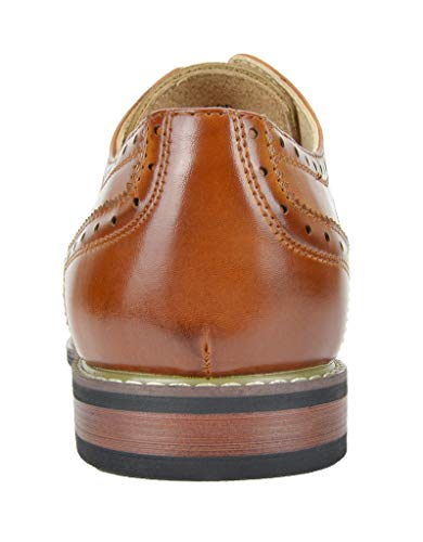 Bruno MARC PRINCE-09 Men's Oxford Modern Classic Brogue Wing-Tip Lace Up Leather Lined Perforated Dress Oxfords Shoes Brown Size 10.5