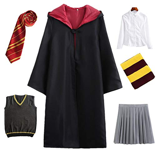 Kosplay Costume per Adulti per Bambini Costume di Harry Potter Mantello Articoli per Set di cinematografici Bacchetta Magica Cravatta Sciarpa Occhiali Carnevale Fancy Dress Halloween Nero Big Size