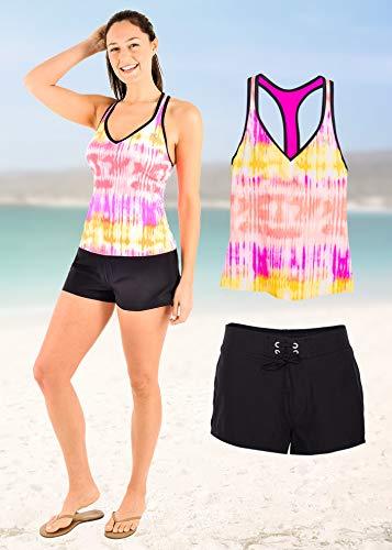 ZeroXposur Womens Tankini Swimsuits Racerback Top Full Coverage Action Shorts with Back Pocket Set (Large, Fuchsia)