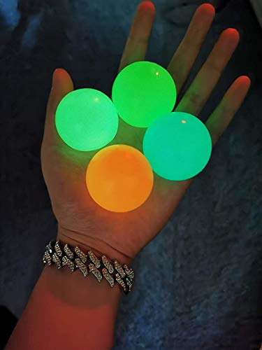 JOAN Sticky Globbles Ball Stress Toy,Fluorescent Sticky Wall Ball Sticky Target Ball Decompression Toy - 4 PCS, Different Color