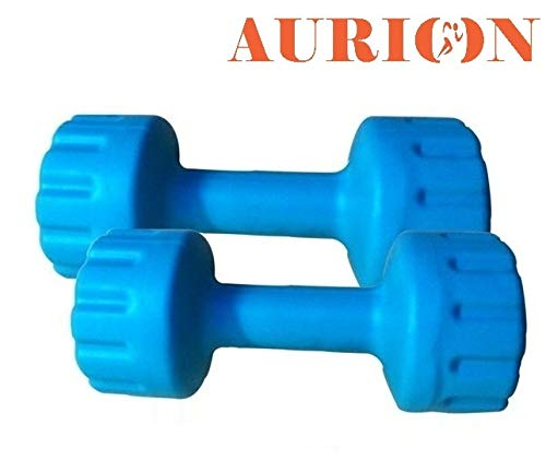 AURION PVC 4 kg x 2 Blue Home Gym Exercise, Fitness and Weights for Women and Men Dumbbells Set