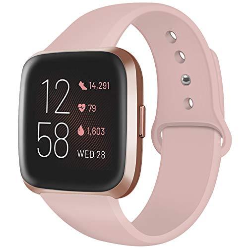 Deilin Armband für Fitbit Versa/Fitbit Versa Lite für Damen und Herren, Silikon Sport Armband Weiches Verstellbares Armband für Fit bit Versa Smartwatch (Sand Rosa, L)