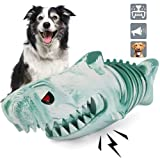 Shark Squeaky Dog Toys,Durable Rubber Chew Toys for Aggressive Chewers Small Medium Breed, Cool Dog Fetch Toy to Keep Them Busy and Puppy Teeth Cleaning,Heavy Duty Chewy for Super Chewers