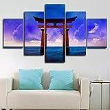 HJIAPO Cuadro sobre Lienzo 5 Piezas Impresión En Lienzo Puerta Torii Japonesa 5 Panel Wall Art Lienzo Pictures para Decoración De Casa Pieza De Regalo De 150 * 80Cm