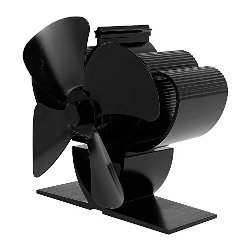 WYJW Ventilador de Chimenea de 4 aspas Negro con termómetro Ventilador de Estufa de pellets de Calor Horno Quemador de leña Eco Ventilador de Estufa eléctrico Herramientas (Color: B)