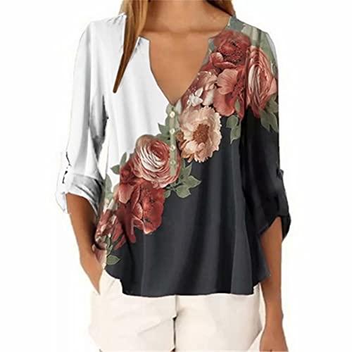 ZFQQ Top Camisero Multicolor con Cuello en V y Estampado Floral para Mujer de otoño e Invierno