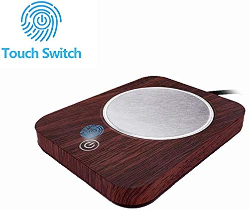SWARK Smart Coffee Warmer for desk, Cup warmer with automatic shut off for Office Home Use, Electric Cup Beverage Plate for Candle, Water, Cocoa, Milk (Imitation Wood Grain)