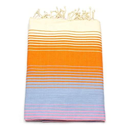 ANNA ANIQ Hamamtuch Fouta Saunatuch XXL Extra Groß 100x200 cm - 100% gekämmte Baumwolle aus Tunesien - Strandtuch, orientalisches Bade-Tuch, Yoga, Pestemal, Strand-Handtuch (Orange-Blau schattiert)