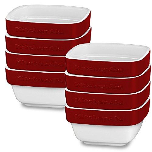 KitchenAid 8 Pack Streamline Ceramic 8 oz Dish Ceramic Bakeware Set, Crème Brule, Soufflé Flan Serveware