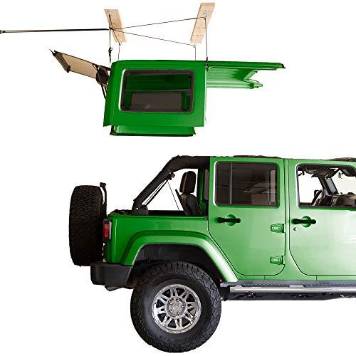 HARKEN - Hardtop Overhead Garage Storage Hoist for Jeep Wrangler and Ford Bronco, Self-Leveling, Safe Anti-Drop System, Easy One-Person Operation, Smart Garage Organization
