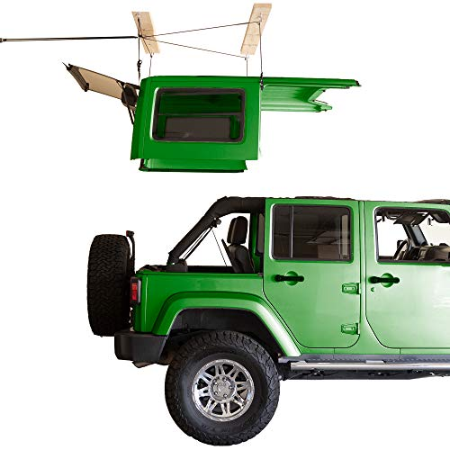 HARKEN - Hardtop Overhead Garage Storage Hoist for Jeep Wrangler and Ford Bronco, Self-Leveling, Safe Anti-Drop System, Easy One-Person Operation, (Bonus T Knobs for Quick Hard Top Removal)
