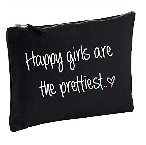 60 Second Makeover Limited Trousse à maquillage cosmétiques Trousse de toilette Inscription Happy Girls Are The Prettiest Noir Cadeau idéal