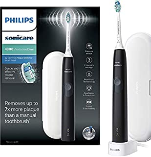 Philips Sonicare ProtectiveClean 4300 Electric Toothbrush with Travel Case - Black (UK 2-pin Bathroom Plug) - HX6800/03