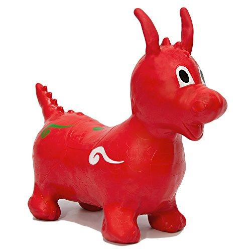 EYEPOWER Hüpfdrache Rot Hüpftier Hüpfpferd Sprungpferd | Hüpfspielzeug für Mädchen und Jungen