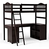 Furniture of America Franklyn Cottage Wood Twin Loft Bed with Desk in Espresso