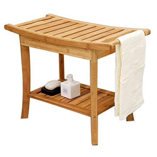 FXYY douche bank stoel met handgrepen, draagbare bamboe houten spa badbank met opslag handdoek plank, waterdicht, perfect voor binnen en buiten gebruik