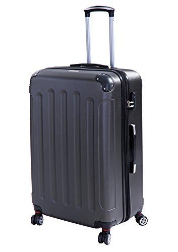 Glüückskind 3tlg. Kofferset Reisekoffer Trolley Koffer Set aus ABS mit TSA Schloss Einzeln oder im Set (Anthrazit, XL Reisekoffer)