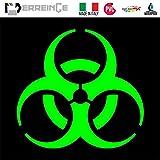 PUNISHER TESCHIO MASCHERA Adesivo Decal Decalcolmania Vinile Murale Laptop Auto Moto Casco Camper ERREINGE STICKER PRESPAZIATO GIALLO FLUO 12cm
