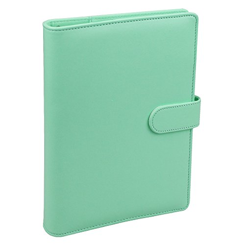 A5 PU Leather Notebook Binder,Refillable 6 Round Ring Binder Cover for A5 Filler Paper,Macaron Notebook Personal Planner Binder with Magnetic Buckle,Robin's Egg Blue