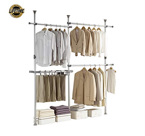 PRINCE HANGER | Double 2tier Pants Hanger, Silver, Steel | 38mm Heavy Duty | PHUS-0031