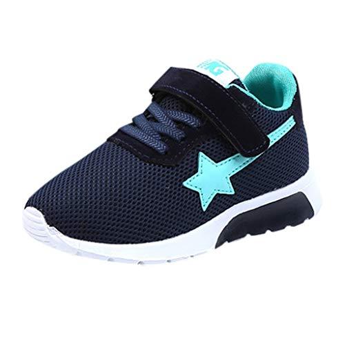 HWTOP Jungen Mädchen Sportschuhe Kinder Freizeit Bequeme Turnschuhe Star Mesh Atmungsaktive Casual Sport Running Sneakers, Dunkelblau, 32 EU