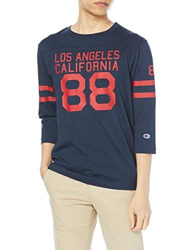 [チャンピオン] フットボールTシャツ 7分袖Tシャツ 綿100% ナンバリングT グラフィックロゴプリント3/4スリーブTシャツ C3-T404 メンズ ネイビー M