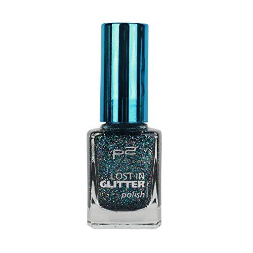 P2 Lost in Glitter polish Nagellack Nr. 040 be cool! Farbe: Dunkelblau/Petrol mit Glitzer Inhalt: 10ml Brillanter Hingucker an jeder Hand: der lost in glitter polish hat ein glänzendes