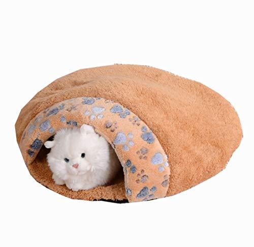 Gmjay Plüsch Donut Haustierbett Hund Katze Runde Warme Kuschel Zwinger Weichen Welpen Sofa Katze Kissen Bett Schlafsack,orange,small