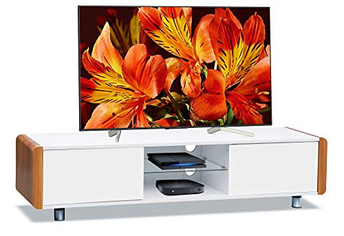 Centurion Supports Capri - Mobile TV a schermo piatto da 32'-65', colore: bianco lucido con lati neri Frassino bianco.