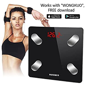 Bluetooth Smart Body Fat Scale WONGKUO 24 Key Body Composition Monitor Wireless Digital Bathroom Weight Scale Health Analyzer Free iOS and Android APP,Sync Data with Apple Health,Google Fit or Fitbit