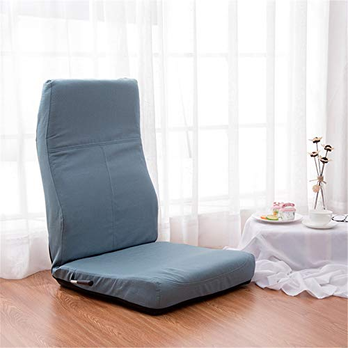 Cojín de la Silla Gaming Floor Silla con Suelo Acolchado Respaldo-meditación Cojín w/Silla Plegable Ajustable del Respaldo Totalmente Plegable (Color : Light Blue, Size : 120x50x10cm)