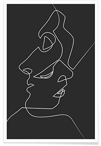 """Juniqe® Affiche 20x30cm Noir & Blanc Couples - Design """"Close Noir"""" (Format : Portrait) - Poster, Tirages d'art & Tableaux par des Artistes indépendants - Art Moderne et Abstrait - créé par Quibe"""