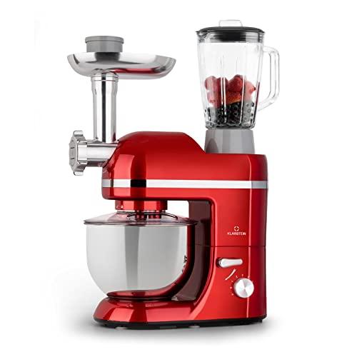 Klarstein Lucia Elegance - Robot de cocina, Robot cocina con potencia 1300 W, Robot cocina multifunción con 5 L de capacidad, 6 niveles, 3 accesorios de mezcla, Protector contra salpicaduras, Rojo